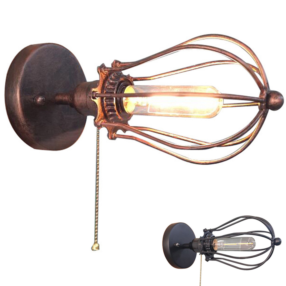 Woxoyozo Vintage Antique Iron Wire Cage Wall Light Loft Pull Chain Wiring A Fixture To Switch Mounted Lamp For Study Room Balcony Stair In Lamps From Lights
