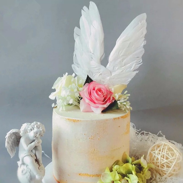 Swan Feather Wing Shape Cake Topper For Wedding Cake Decoration