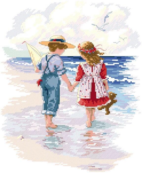 Открытка мальчик и девочка держатся за руки, днем рождения