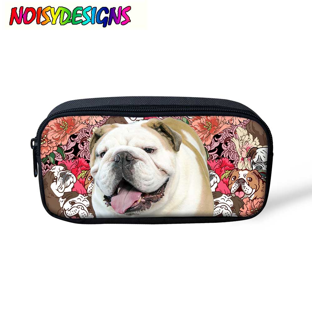 NOISYDESIGNS Multifunctional Pencil Box Floral Bulldogs Makeup Bag Travel Necessaries Dog Printing Pencil Case Zipper Cute