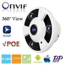 HD 1080 P IP המצלמה POE 2MP Onvif Fisheye פנורמה 5MP עדשת IR ראיית לילה HD אבטחת CCTV מצלמה 2MP 360 תואר צפה P2P NVSIP