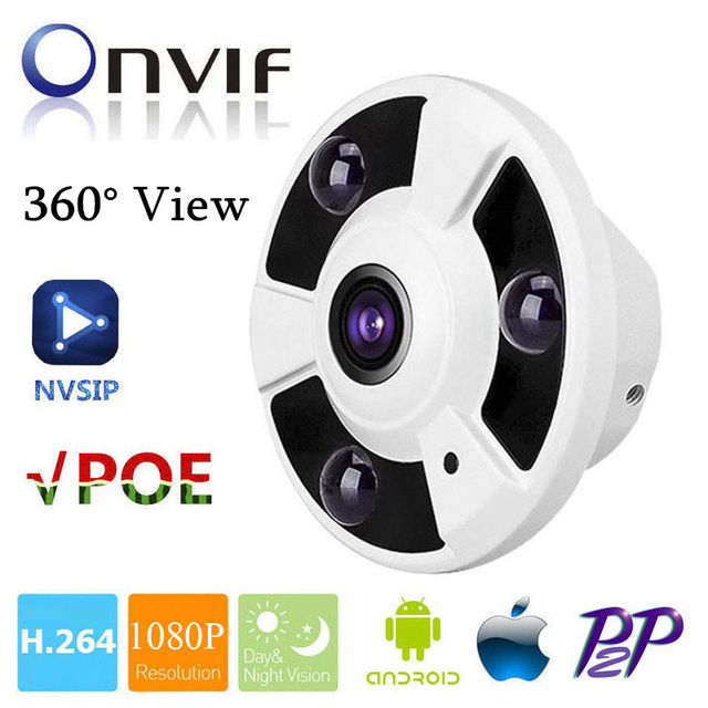 HD 1080P IP Camera POE 2MP Onvif Fisheye Panorama 5MP Lens IR Night Vision HD Security CCTV Camera 2MP 360 Degree View P2P NVSIP