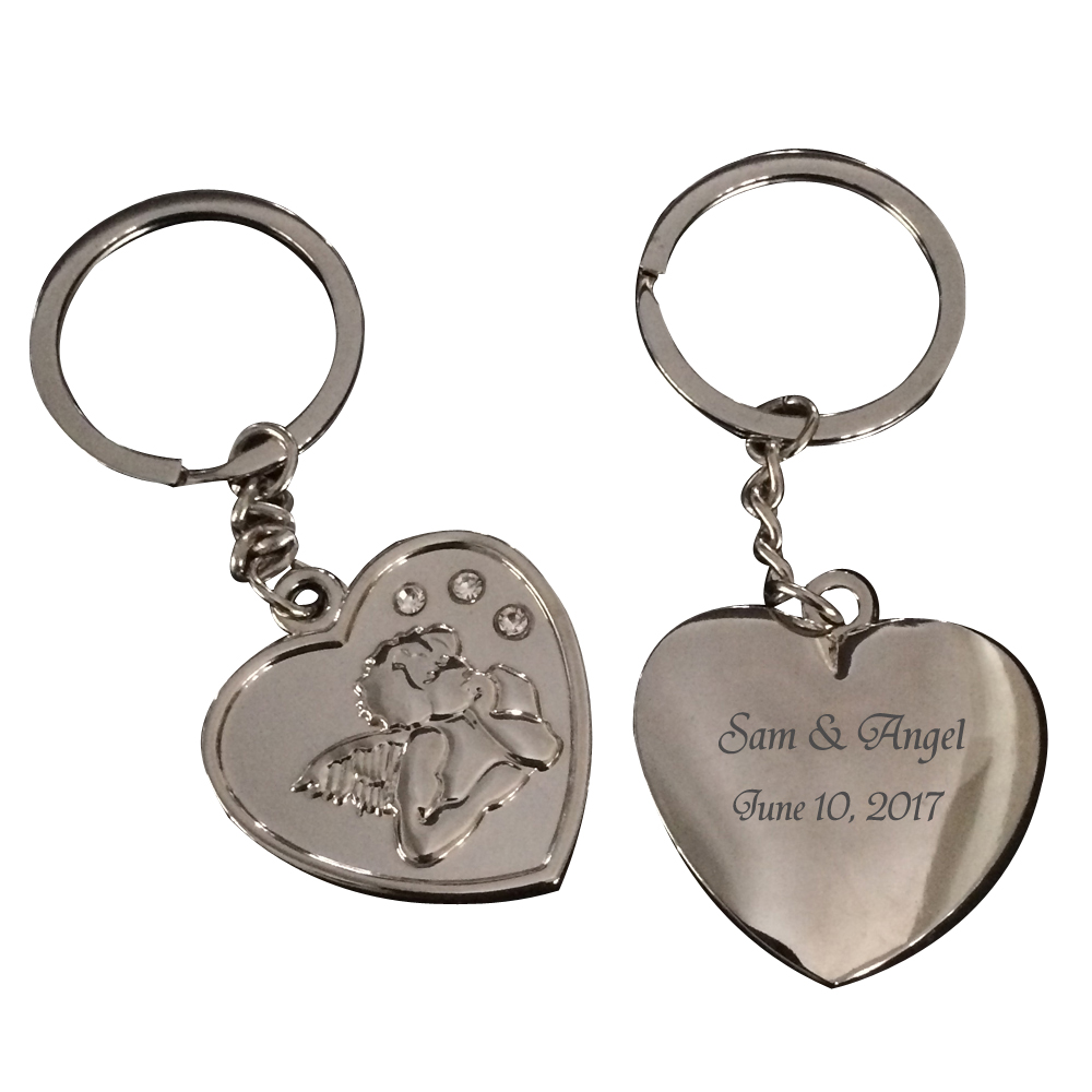 Event & Party Genteel 100pcs Personalized Wedding Gift Souvenir For Guests,angel Heart Key Chain Ring Party Favor With Gift Box,customized Name & Date