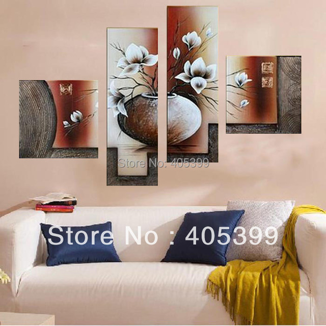 Thick Textured Vase Magnolia Picture Wall Art 4PCS Quality  Handpainted Abstract  Modern Oil Painting On Canvas Wall Art G006
