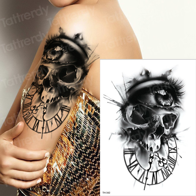 b040e52f2 Dark Evil Skull large eyes Greek clock suger skull sleeve tattoo designs  for men tattoo halloween body stickers scar tattoo new