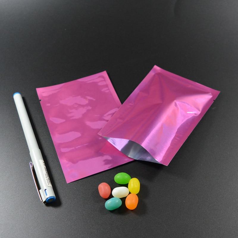 """100 шт 9x13 см(3,"""" x 5,1""""), красочная термопечать, предотвращающая появление запаха мешки из фольги мешки для хранения продуктов - Цвет: Pink"""