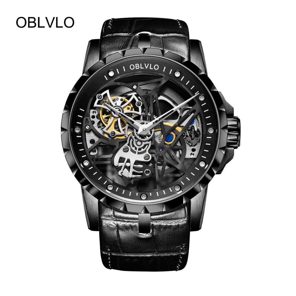 2019 New OBLVLO Mechanical Army Military Watches Men Skeleton Watch Automatic Black Sport Watch Waterproof montre homme RM-1 Переносные часы