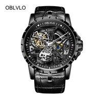 2019 новые OBLVLO механические армейские часы Мужские часы Скелетон автоматические черные спортивные часы водонепроницаемые montre homme RM 1