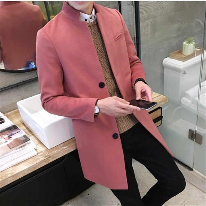 Модные мужские высокого класса в теплые зимние шерстяное пальто/Мужской Стенд воротник чистый цвет длинное однобортный пиджак
