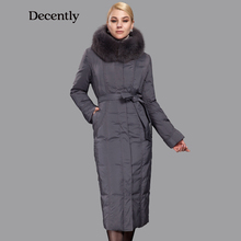 Decently 2015 New arrival women clothing Fox Fur Winter jacket woman Long coat Plus size Mother Parka  1B1347