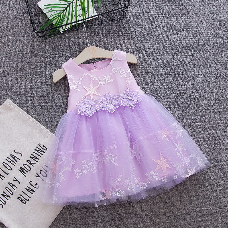 Baby Dress Girl Party Wedding princess Summer Birthday 1 Year Lace Infant Toddler Tutu Sleeveless Clothes White Pink Collar