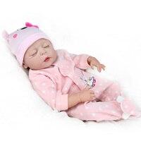 55cm Full Body Silicone Reborn Dolls Babies Girls Toys Gift Bebe Reborn Sleeping Doll Children Early Education House Play Toys