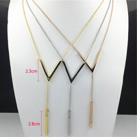 Hot Sale European And American 18 K Gold Platinum Rose Gold V Type Sweater Necklace Real