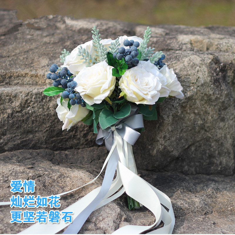 Fleur de mariage ensemble mariage mariée main Bouquet Simulation fleur événement fête fleur décorative mariage photographie photo accessoires - 2