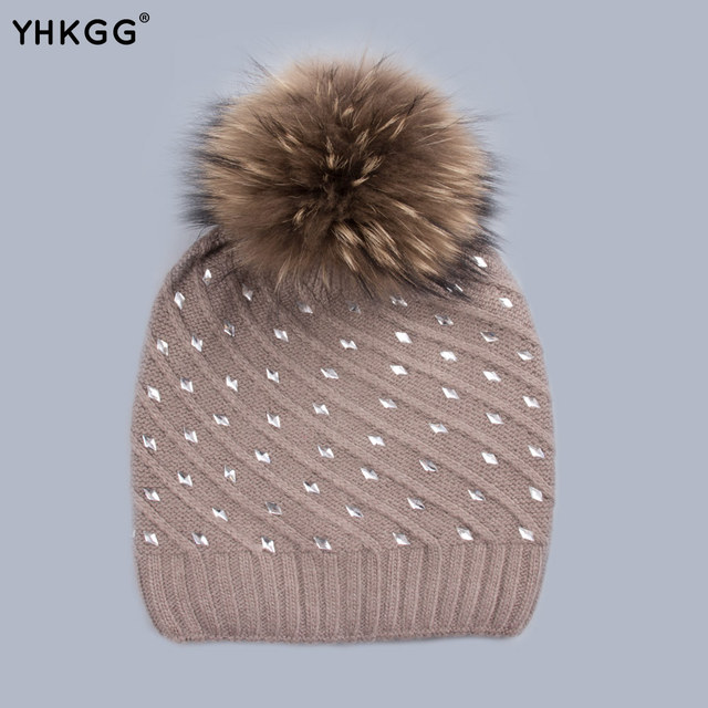 YHKGG Rhinestone Pineapple Hats 2016 Brand New  Ms. Crystal Winter Warm Knitted Hat Cashmere Hedging Cap High QualityH0156