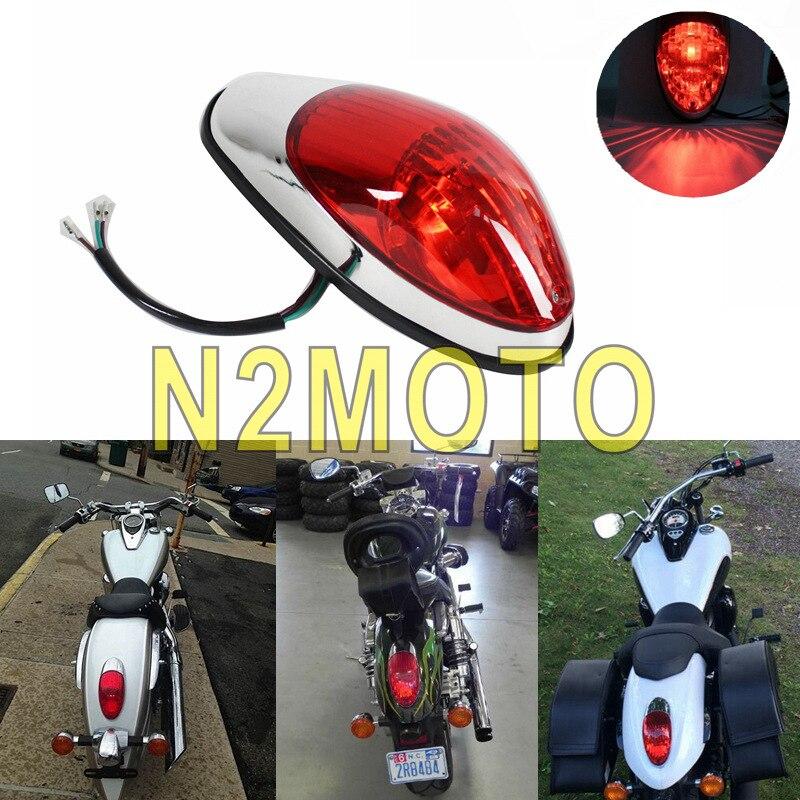1 X Motorcycle Rear Tail Stop Red Light Lamp For Yamaha Suzuki Honda Kawasaki Vulcan 900 1500 Classic VN900C Crusiser Taillight