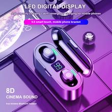 F9 TWS Fingerprint Touch Bluetooth Earphones, 8D HD Stereo Wireless Headphones,Noise Cancelling Gaming Headset