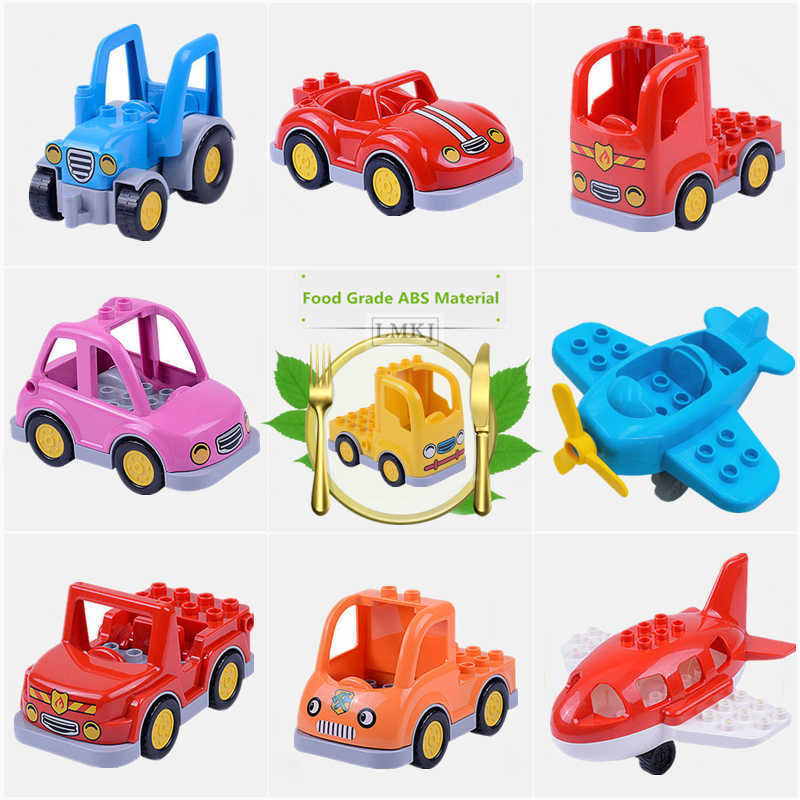 Diy Brick Toys For Children Big Size Duploe Classic City Traffic Series Building Block Assemble Bus Car