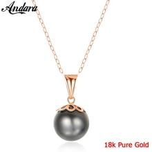 الحقيقي 18 k الذهب الخالص مجوهرات 6 اللون الطبيعي اللؤلؤ قلادة القلائد أزياء بسيطة النساء قلادة