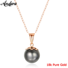 Real 18k Gold Necklace Fashion 9 10mm Tahitian Pearl Pendant Necklaces AU750 Real Gold Jewelry Gift