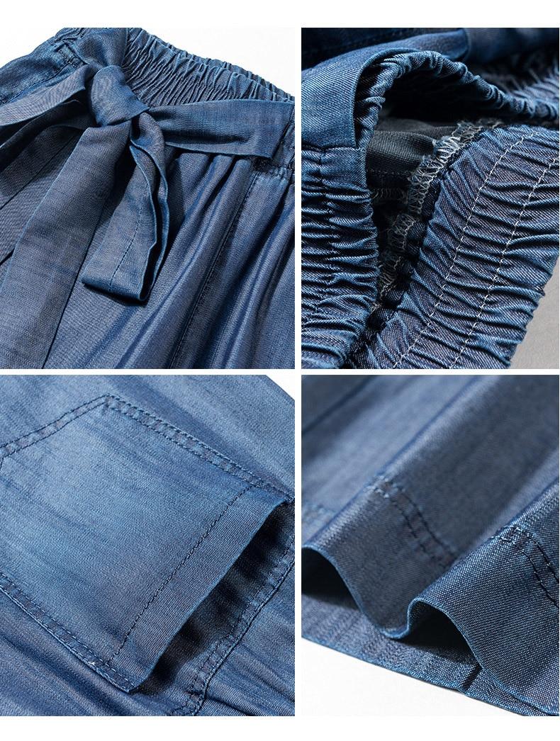 Sash Spring Pantalon Jambe Élastique Femme Femmes Denim Arc Casual Haute Jeans Large Summer Lâche Mode Pantalon Taille HCqfzH
