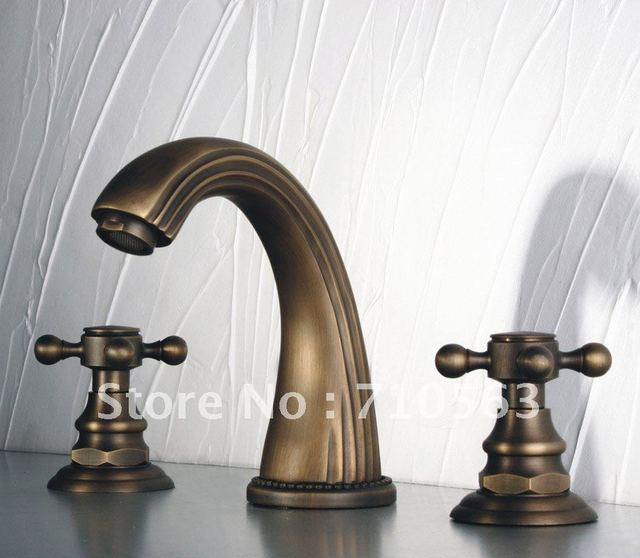 Free Shipping Dual Handles Minispread Antique Brass Faucet For ...