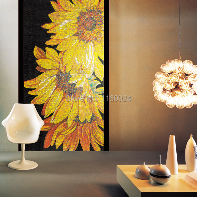 Artistic Sunflower Crystal Glass Mosaic / Cut Picture Mosaic Wall ...