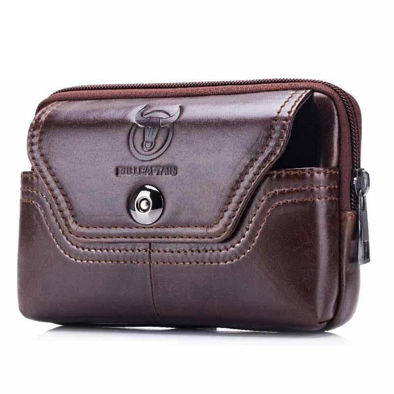 BULLCAPTAIN Phone Cigarette Purse Fanny Pack Waist Bag Leather Hip Bum Money Belt Bag Waist Packs Men Belt Pouch Bags