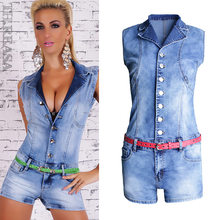 Single Breasted mujeres Playsuit Romper Sexy Skinny Denim Jumpsuits verano sin mangas moda damas Jeans Body Feminino(China)