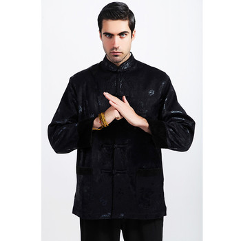 Top Selling Autumn Winter Chinese Men Long sleeve Coats Padded Brocade Black Jacket Thicking Outerwear Size S M L XL XXL XXXL