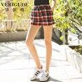 Veri Gude mulheres verão xadrez Shorts de cintura elástica de cordão estilo Casual