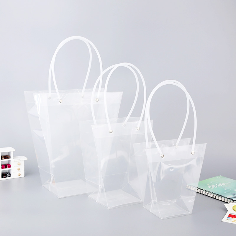 5pcs trapezoidal waterproof transparent gift bag plastic bag PVC flower shop packaging bag party holiday flower bags