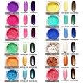 Efecto Espejo CALIENTE 2 g/caja Polvo Del Brillo Del Clavo de Manicura de Colores Brillantes Del Arte Del Clavo Glitters 12 Colores Pigmento de Cromo Espejo