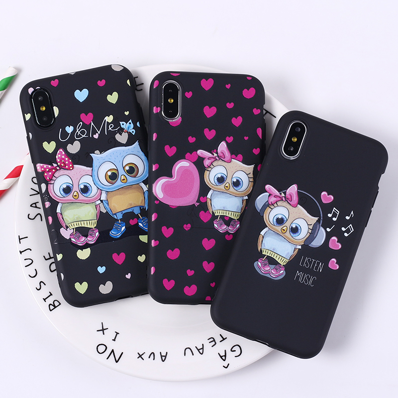 Cute Owl Hearts Lover Christmas Soft Silicone <font><b>Phone</b></font> <font><b>Case</b></font> Fundas Coque Cover For <font><b>iPhone</b></font> 11 Pro <font><b>5SE</b></font> 7 7Plus 6 6S 8 8PLUS X XS Max image