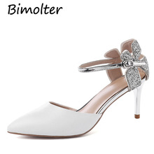 Bimolter Women High Fashion Leather Thin Heels Elegant Prom Pumps Sexy Glittery Bling Silver pointed Toe Shoes FB047
