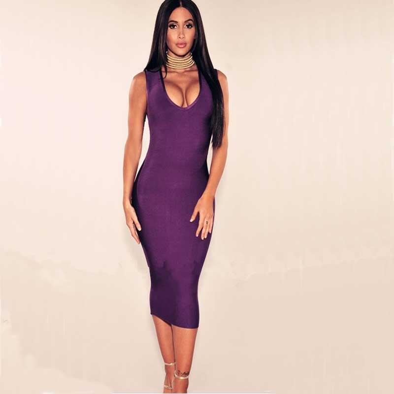 工場卸売新しいドレス黒と紫ファッション高級ストレッチタイトカクテルパーティー包帯ドレス(h1715)  グループ上の レディース衣服 からの ドレス の中 2