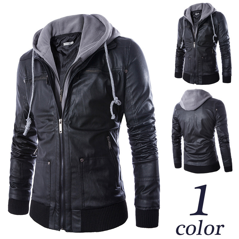 Fashion Winter Fashion Men's Coat Leather Jacket Motorcycle PU Zippers Jackets  Hooded
