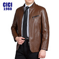 2016Leather Jacket Men Stand Collar Autumn New Men's leather Jacket +Locomotive style Men's Slim Fit Leather Clothing M-4XL 218R