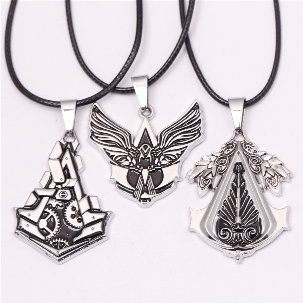 Vintage Assassins Creed Necklaces for Male Gear PS3 Necklace Wing Letter Collier Homme Male Anime Neckless Colar ps Men Jewelry