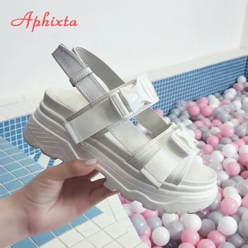 Aphixta 8cm Platform Sandals Women Wedge High Heels Shoes Women Buckle Leather Canvas Summer Zapatos Mujer Wedges Woman Sandal 4