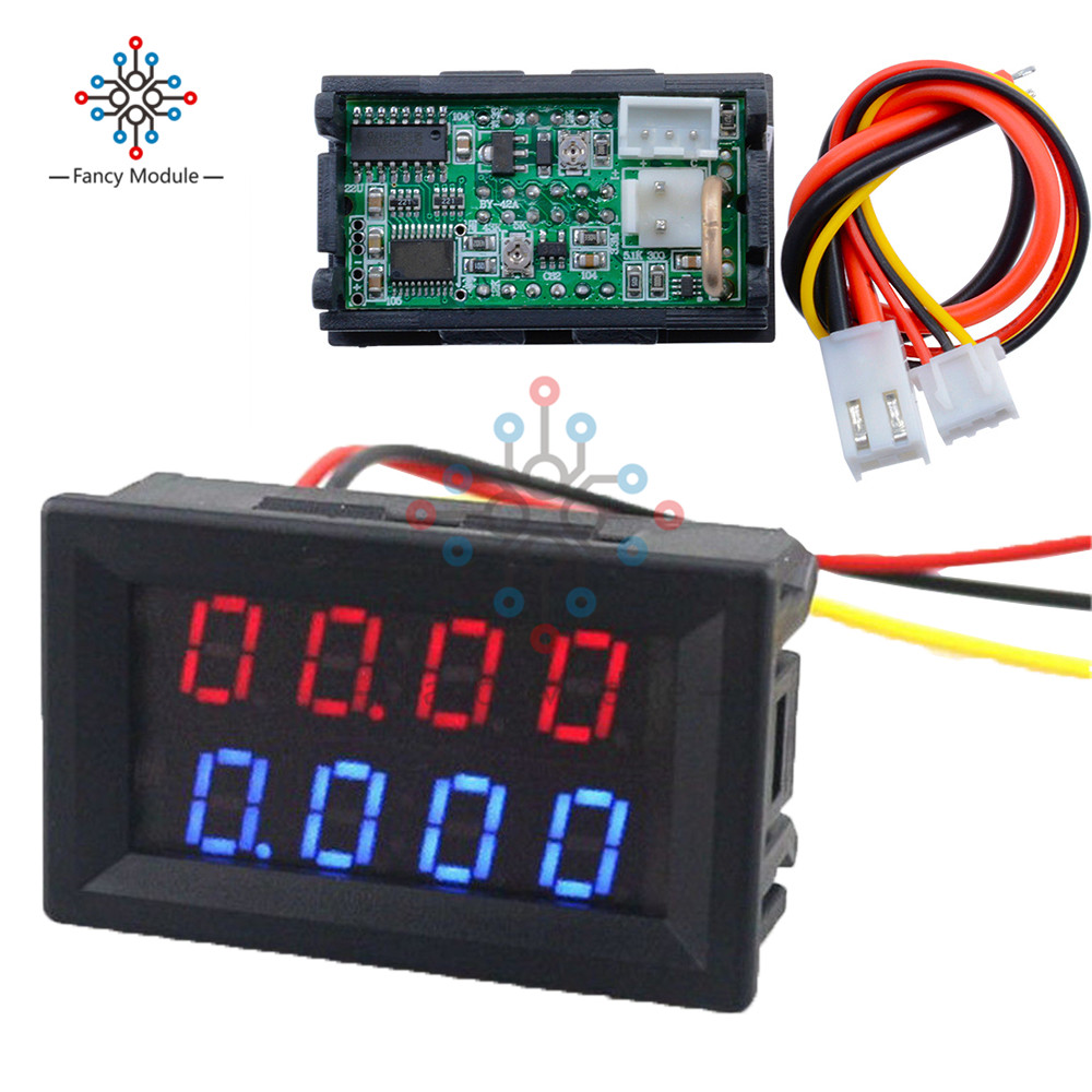 цена на Digital DC Voltmeter Ammeter 4 Bit 5 Wires DC 200V 10A Voltage Current Meter Power Supply Red Blue LED Dual Display