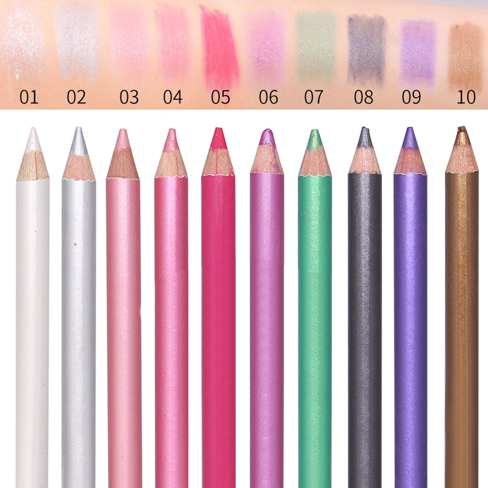 1Pcs 10 Colors Double-headed Pearlescent Eye Shadow Pencil High-light Lying Silkworm Pen Brightening Waterproof Eye Liner Pencil