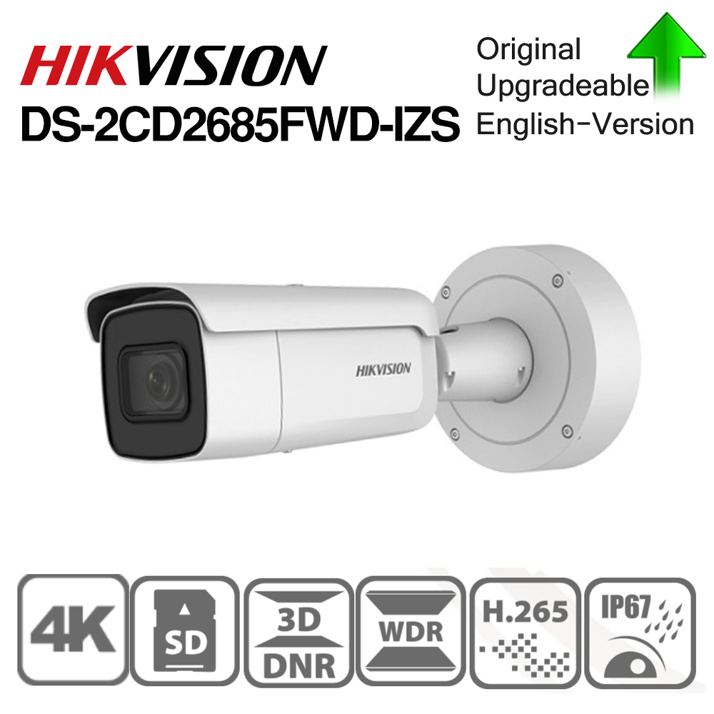 Hikvision original DS-2CD2685FWD-IZS câmera de bala 8mp poe cctv câmera 50m ir faixa ip67 ik10 h.265 + 2.8-12mm zoom