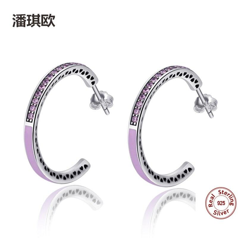 Classic Retro 925 sterling silve Heart Light Pink Enamel&Clear CZ Hoop Earrings For Women Compatible with pan Jewelery