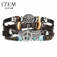 17KM Punk Design Turkish Eye Bracelets For Men Woman New Fashion Wristband Female Owl Leather Bracelet Stone Vintage Jewelry 2