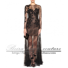 free shipping hot&sexy robe de soiree 2014 new fashion vestidos fiesta kaftan black long sleeve lace elegant evening dresses