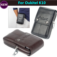 Cell Phone Waist Bag Genuine Leather Belt Zipper Coin Purse Phone Bag For Oukitel K10 6