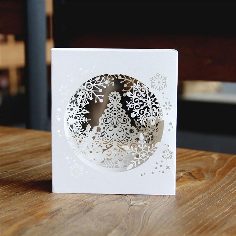 1 69 15 De Descuento Nueva Llegada 1 Unids Bolsa Feliz Navidad 3d árbol Cajas Copo De Nieve Diseño Tarjetas De Felicitación Vintage Postales Mensaje
