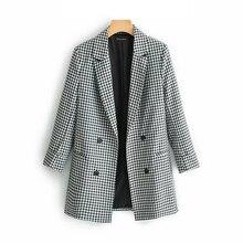 Klacwaya, Элегантный женский Блейзер, костюм,, для офиса, для девушек, модные блейзеры, с зубчатым воротником, куртки, корейский стиль, для девочек, повседневная одежда, костюмы