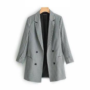 Checkered Elegant Women's Blazer Suit 2019